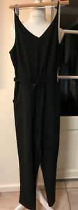 COTTON ON S WOMENS STRAPPY BLACK LONG JUMPSUIT POCKETS. Elasticised Waist.NWT