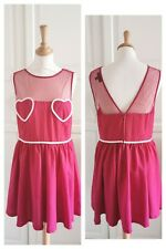 Topshop Red Burgundy Mini Dress Flirty Heart Burlesque Cheeky Pin-up Party 12