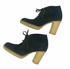 J Crew MacAlister Womens Ankle Boots Size 7 Black Suede Leather Lace Up