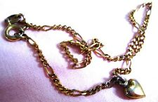 """Italy Stamp Bracelet 925 Sterling Silver, gold overlay Figaro link thin Chain 9"""""""