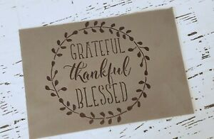 Grateful, Thankful, Blessed Stencil, Reusable Template,Rustic Farmhouse(VRF06)