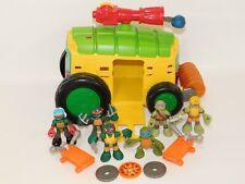 TMNT Half Shell Heroes Lot 3 Figures Party Wagon Minibike & Wings Ninja Turtles