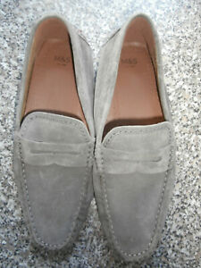 Marks & Spencers men's grey suede slippers size 9 moccasin style new without box