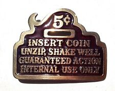 Vtg 1979 The Great American Brass BELT BUCKLE Insert Coin Unzip, Shake Well 326
