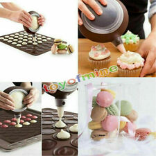 2x 30-cavity Silicone Pastry Cake Macaroon Oven Baking Mould Sheet Mat