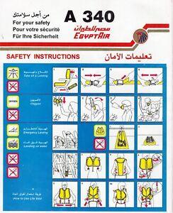 EGYPT AIR A340 SAFETY CARD
