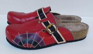 L'Artiste 'Valeria' By Spring Step Red Leather Slides EUR 41 US 9.5-10