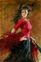 LMOP1175 handmade charming dancing girl portrait art oil painting on canvas