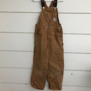 Vtg Carhartt R01 BRN Double Knee Duck Bib Overalls Mens Tag 30x30 Actual 29x29