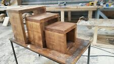 NEW SOLID WOOD RUSTIC PLANK WOODEN CUBE NEST OF THREE TABLES MADE TO MEASURE