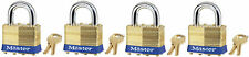 Lock Set by Master Brass 4KA (Lot of 4) Keyed Alike Matching Same Identical