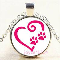 Love Paw Cabochon Silver/Bronze/Black/Gold Glass Chain Pendant Necklace #6807