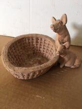 Rare clay figurine 2 pigs trough 8 x 6 x 6 in
