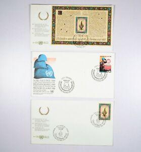 GINEVRA ONU NAZIONI UNITE 3 Buste Primo Giorno Enveloppes Premier Jour 1988