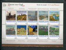 Netherlands, VINCENT VAN GOGH 1853-1890 sheet CITY AND VILLAGE -STAD/DORP;  MNH