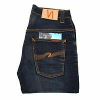 Nudie Jeans Thin Finn Crispy Crinkles Bleu Hommes Jean En Taille 32/32