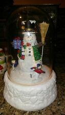 "14"" Ul ""Let It Sno"" Animated Snowing Snowman Dome w Christmas Music, Ice Skaters"