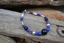 Handmade bracelet with Sterling Silver, Lapis Lazuli & Black Onyx.