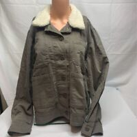 Lucky Brand Womens Jacket Coat Green Button Pocket Faux Fur Collar Stretch L New