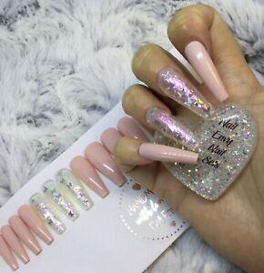 Bridesmaids Pink Glitter Butterflies False Fake Extra Long Ballerina Nails Set