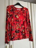 WEEKDAY WOMENS ORANGE BROWN FLORAL BLOUSE TOP SIZE 10 SMALL LONG SLEEVE STRETCH