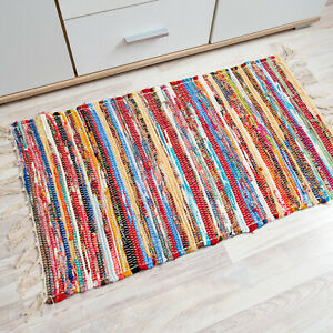 Modern Area Rug Cotton Living Room Fringes Striped Pattern Entryway Mat Washable