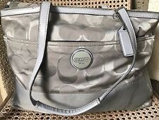 COACH Signature Large Silver/Gray Diaper Baby Bag Tote F17443 Multifunction