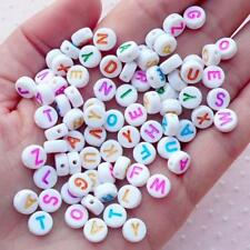 **FREE SHIPPING** 250 x Alphabet Letter Round Beads, 7mm, Mixed Colours