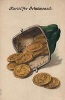 EARLY 1900's EMBOSSED MONEY PURSE GERMAN DUTCH POSTCARD