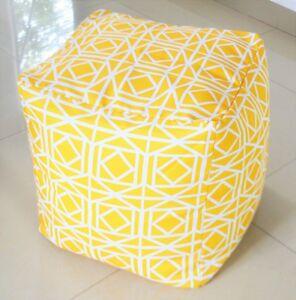 "Yellow Pouf / ottoman WATERPROOF IN/ OUTDOOR, UV/Mould Resistant Geometric 16"""