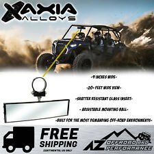 """Axia Alloys 9"""" Wide Panoramic Rearview Mirror Bar Mount w/ 1.75"""" Bar Clamp Black"""