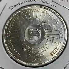 1974 DOMINICAN REPUBLIC SILVER ONE PESO CROWN BRILLIANT UNCIRCULATED