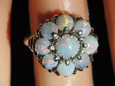 ANTIQUE 10K SOLID GOLD VIBRANT FIREY OPAL CABOCHON STONE RING LG