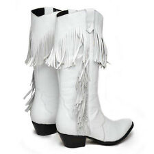 White Oasis Leather Oak Tree Fringe Cowboy Boots size 9