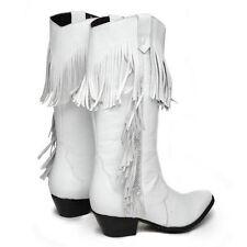 White Oasis Leather Oak Tree Fringe Cowboy Boots size 9
