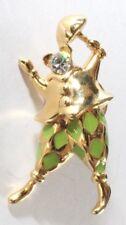 Brooch Lapel Pin - Trifari Clown Umbrella Rhinestone Green Enamel Gold Tone 1997