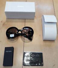 Prada SPR 27N 1AB-3M1 Black Baroque Swirl Women's Round Sunglasses 100% genuine