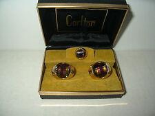 Vintage Goldtone Checkerboard Cut Rainbow Crystal Cufflinks & Tie Pin In Box