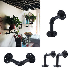 2Pcs Pipe Shelf Brackets Industrial Iron Rustic Wall Floating Shelves Supports