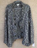 NWT TWEEDS Wool Blend 2X Open Cardigan Sweater Jacket Gray Beige Lagenlook