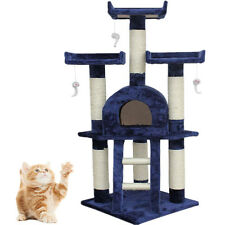 Medium Kitten Cat Tree Scratching Post Activity Centre Bed Toy 115cm Navy HT