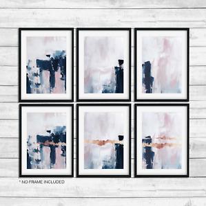 Navy Pink Wall Art print,Blue Blush Pink Wall Art, Scandinavian Wall Art print