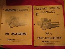 W4 Uni-Combine Minneapolis Moline Operators & Repair Parts Operating Manual W 4