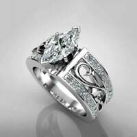 Women 925 Silver Wedding Engagement Rings Marquise Cut White Sapphire Size 6-10