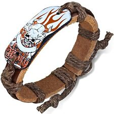 Fashion Furious Flaming Pirate Skull Crossbones Oval Adjustable Brown Bracelet