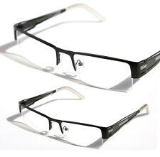Rectangular Half Rimless Metal Sun-Glasses Optical Rx Black White Clear Lens1230
