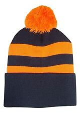 Black and Tangerine Traditional Style Bobble Hat. Black and Orange Pom Hat