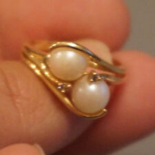 Double Pearl ring with Diamond accents in 14k yellow gold