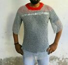 Chainmail Shirt Butted Silver Medieval Chainmail Armor Knight Costume Size M