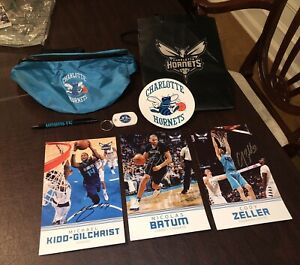 Authentic NBA Charlotte Hornets Signed Collector Trading Cards, Keychain, & More